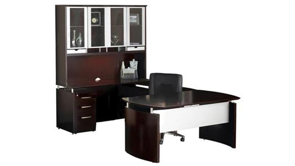 U Shaped Desks Mayline U Shaped Napoli Desk with Hutch