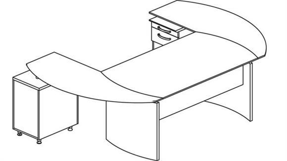 "Executive Desks Mayline 63"" Napoli Desk with Curved Returns"
