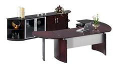 """Executive Desks Mayline 72"""" Napoli Desk with Return and Extension and Additional Storage"""