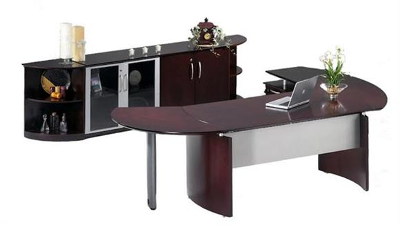 "Executive Desks Mayline 72"" Napoli Desk with Return and Extension and Additional Storage"