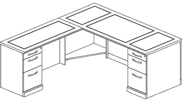 L Shaped Desks Mayline Double Pedestal L Shaped Desk