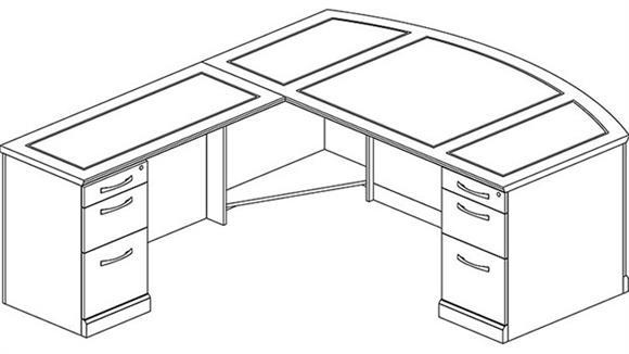 L Shaped Desks Mayline Double Pedestal L Shaped Bow Front Desk