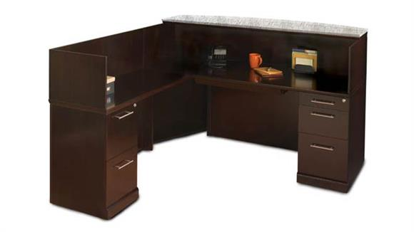 Reception Desks Mayline L Shaped Reception Desk with Granite Counter