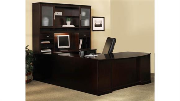 U Shaped Desks Mayline Double Pedestal U Shaped Bow Front Desk with Hutch