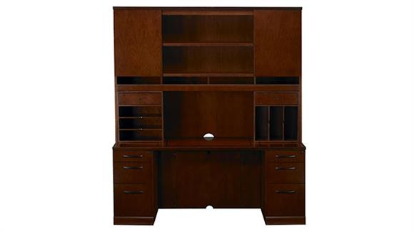 """Office Credenzas Mayline 72"""" Double Pedestal Credenza with Hutch"""