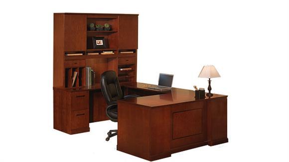 U Shaped Desks Mayline U Shaped Desk with Hutch