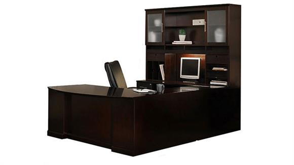 U Shaped Desks Mayline Double Pedestal U Shaped Bow Front Desk with Hutch