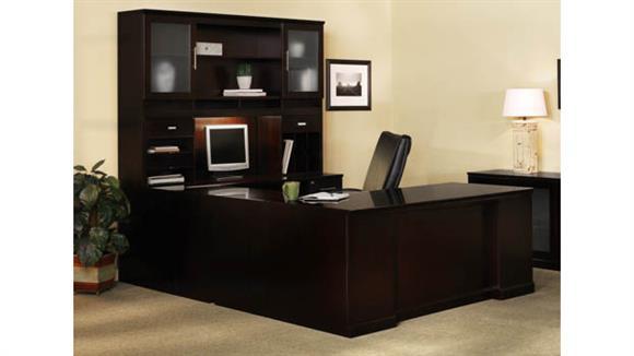 U Shaped Desks Mayline Double Pedestal U Shaped Desk with Hutch