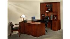 U Shaped Desks Mayline Double Pedestal U Shaped Desk with Hutch