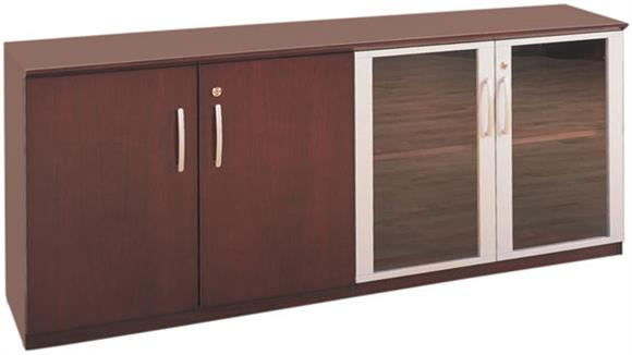 Storage Cabinets Mayline Low Wall Cabinet with Wood and Glass Doors