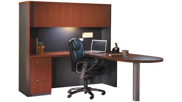 "L Shaped Desks Mayline 66"" x 84"" L Shaped Peninsula Desk with Hutch"