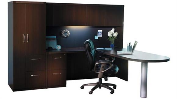 L Shaped Desks Mayline Peninsula L Shaped Desk with Additional Storage