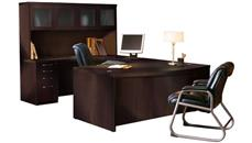 U Shaped Desks Mayline Bowfront U Shaped Desk with Hutch