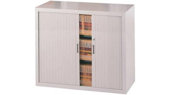 "File Cabinets Vertical Mayline Office Furniture 48""W Three Tier File Harbor Cabinet"