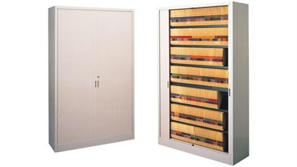 """File Cabinets Lateral Mayline Office Furniture 48""""W Seven Tier File Harbor Cabinet with Pull-Out Reference Shelf"""
