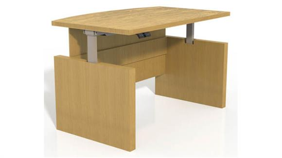 "Adjustable Height Desks & Tables Mayline Office Furniture Height-Adjustable 66"" Bow Front Desk with Base"