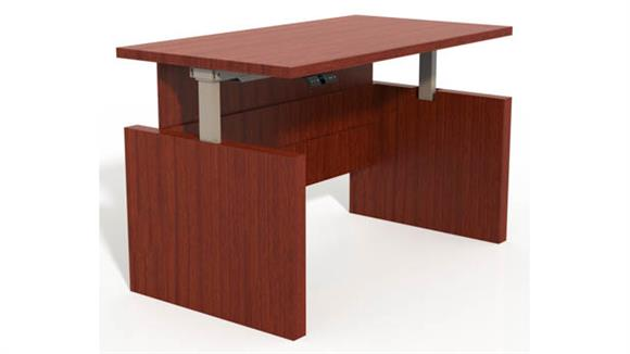 "Adjustable Height Desks & Tables Mayline Office Furniture Height-Adjustable 66"" Straight Front Desk with Base"