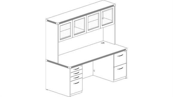 "Executive Desks Mayline Office Furniture 72"" Double Pedestal Desk with Hutch"