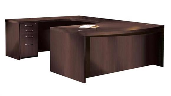 "U Shaped Desks Mayline Office Furniture 72"" Bow Front U Shaped Desk"