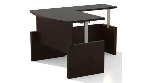 "Adjustable Height Desks & Tables Mayline Office Furniture Height-Adjustable 72"" Bow Front Desk with Return"