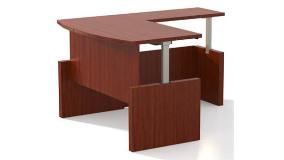"Adjustable Height Desks & Tables Mayline Office Furniture Height-Adjustable 66"" Bow Front Desk with Return"