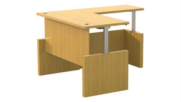 "Adjustable Height Desks & Tables Mayline Office Furniture Height-Adjustable 66"" x 30"" Straight Front Desk with Return"
