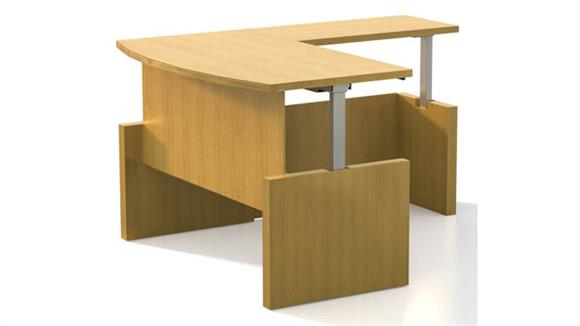 "Adjustable Height Desks & Tables Mayline Office Furniture Height-Adjustable 66"" x 30"" Straight Front Desk with Return"