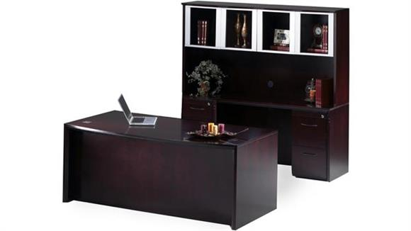 """Executive Desks Mayline Office Furniture 72"""" Bow Front Desk and Credenza with Hutch"""