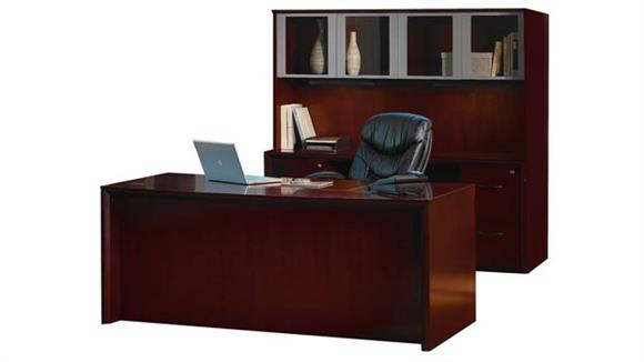 """Executive Desks Mayline Office Furniture 72"""" Desk and Credenza with Hutch"""