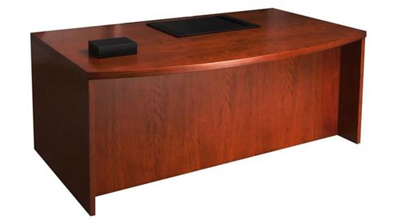 "Executive Desks Mayline Office Furniture 66"" Wood Veneer Bow Front Desk Shell"