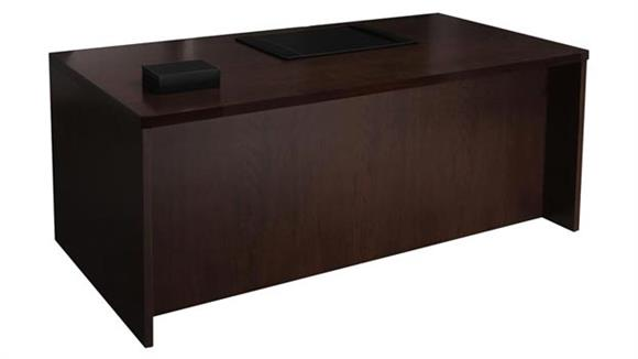 "Executive Desks Mayline Office Furniture 66"" Wood Veneer Straight Front Desk Shell"
