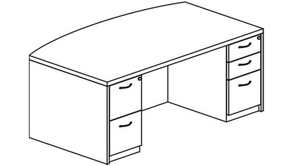 Executive Desks Mayline Office Furniture Double Pedestal Bow Front Desk
