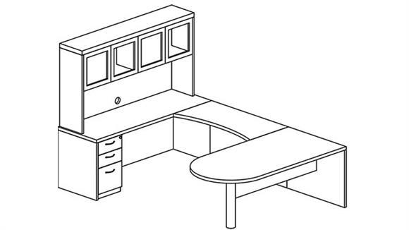 U Shaped Desks Mayline Office Furniture U Shaped Single Pedestal Peninsula Desk with Hutch