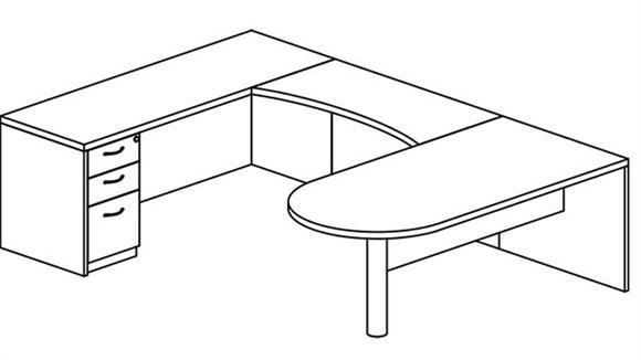 U Shaped Desks Mayline Office Furniture U Shaped Single Pedestal Peninsula Desk