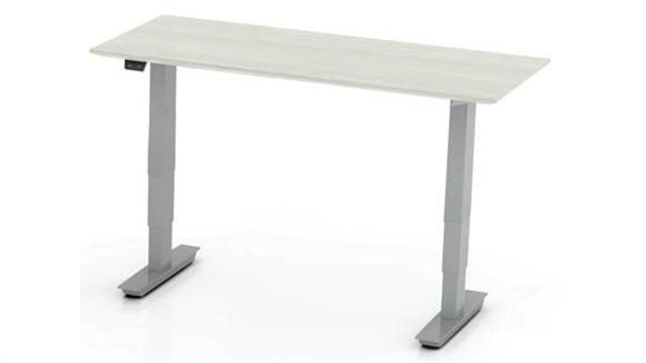 "Adjustable Height Desks & Tables Mayline Office Furniture 48"" Non-Handed Straight Bridge with 3-Stage Height-Adjustable Base"