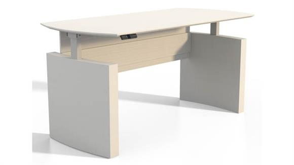 "Adjustable Height Desks & Tables Mayline Office Furniture Height-Adjustable 63"" Curved Front Desk"