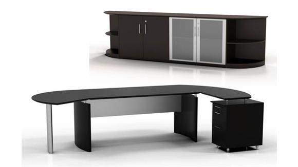 "Executive Desks Mayline Office Furniture 72"" Desk with Return and Low Wall Cabinet"