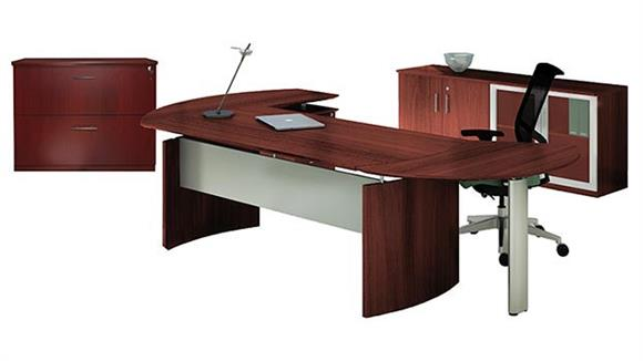 "Executive Desks Mayline Office Furniture 72"" Desk with Return and Additional Storage"