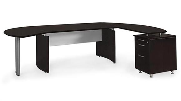 "Executive Desks Mayline Office Furniture 72"" Desk with Return and Extension"