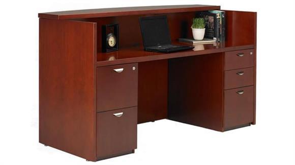 Reception Desks Mayline Office Furniture Double Pedestal Wood Veneer Reception Desk