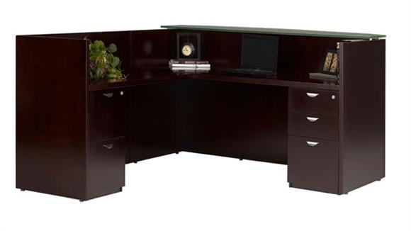 Reception Desks Mayline Office Furniture L Shaped Wood Veneer Reception Desk with Glass Top