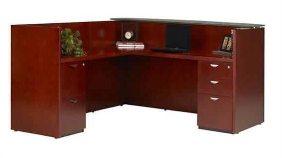 Reception Desks Mayline Office Furniture L Shaped Wood Veneer Reception Desk with Glass Top