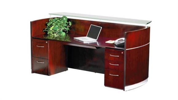 Reception Desks Mayline Office Furniture Double Pedestal Napoli Reception Station