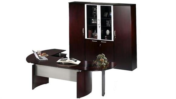 "Executive Desks Mayline Office Furniture 72"" Napoli Desk with Return and Extension and Additional Storage"