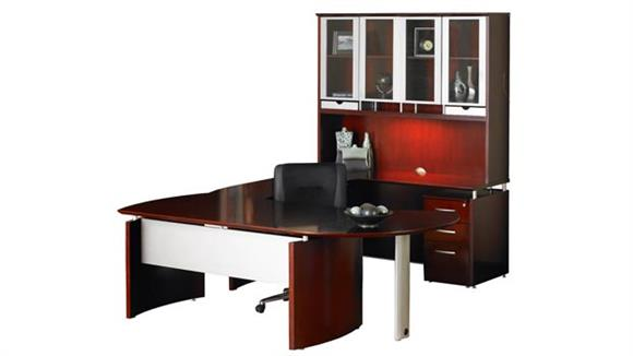 "U Shaped Desks Mayline Office Furniture 87""W x 108""D U Shaped Napoli Desk with Right Return, Hutch, Pedestal, and Curved Extension"