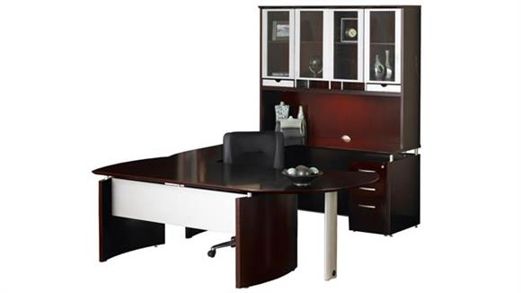 """U Shaped Desks Mayline Office Furniture 87""""W x 108""""D U Shaped Napoli Desk with Right Return, Hutch, Pedestal, and Curved Extension"""
