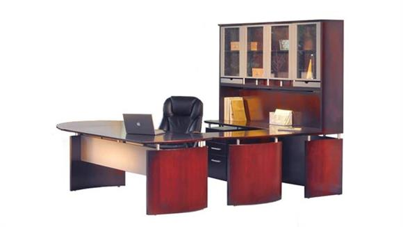 "U Shaped Desks Mayline Office Furniture 96""W x 108""D U Shaped Napoli Desk with Left Return, Hutch, Pedestal and Curved Extension"