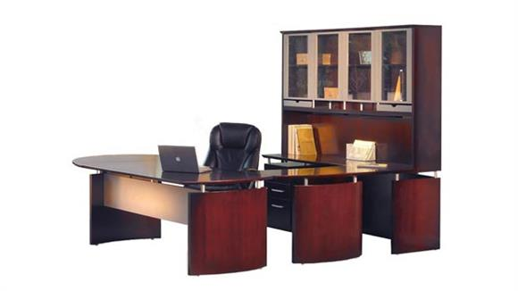 "U Shaped Desks Mayline Office Furniture 96""W x 108""D U Shaped Napoli Desk with Left Return, Hutch, Pedestal and Curved Extension"