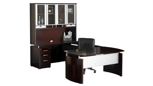 U Shaped Desks Mayline Office Furniture U Shaped Napoli Desk with Hutch