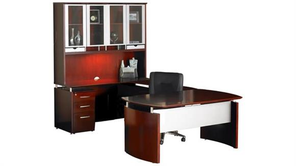 "U Shaped Desks Mayline Office Furniture 72""W x 108""D U Shaped Napoli Desk with Left Return, Hutch and Pedestal"